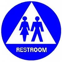 Trimco 752 Series Title 24 Restroom Sign Unisex 12 Triangle 12 Diameter Circle White On